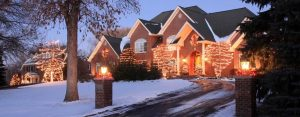 residential house with christmas lights