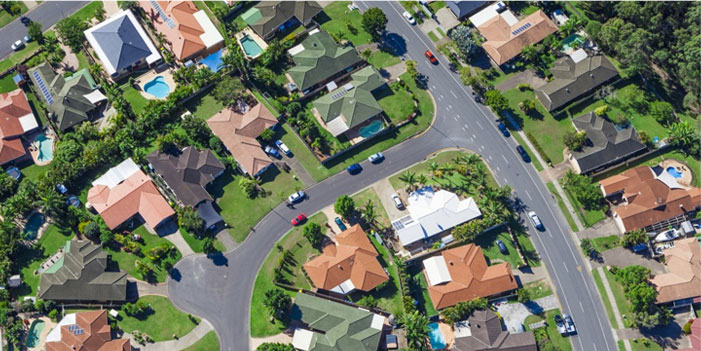 aerial view of a suburban houses