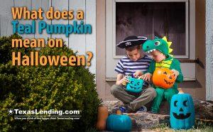teal pumpkin on Halloween